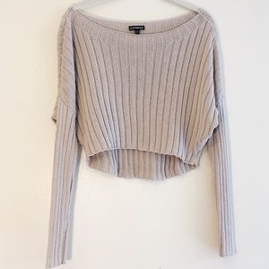 EXPRESS | Camel Knit Long-Sleeve Crop Top